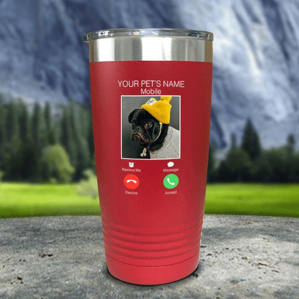 Personalized Pet Name & Photo Phone Color Printed Tumblers Tumbler Nocturnal Coatings 20oz Tumbler Red