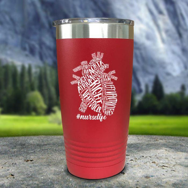 Nurse Descriptive Heart Color Printed Tumblers Tumbler Nocturnal Coatings 20oz Tumbler Red