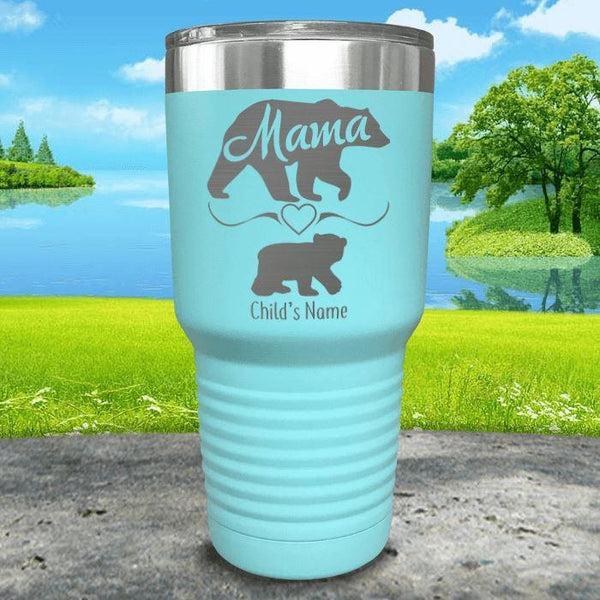 Mama Bear (CUSTOM) With Child's Name Engraved Tumblers Tumbler ZLAZER 30oz Tumbler Mint