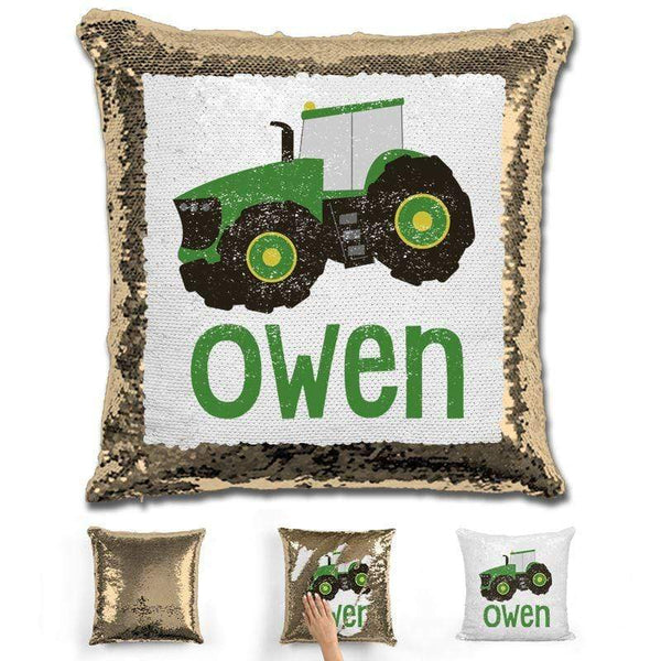 Tractor Personalized Magic Sequin Pillow Pillow GLAM Gold