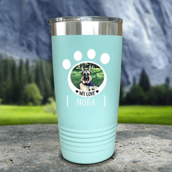Personalized Pet Photo Color Printed Tumblers Tumbler Nocturnal Coatings 20oz Tumbler Mint