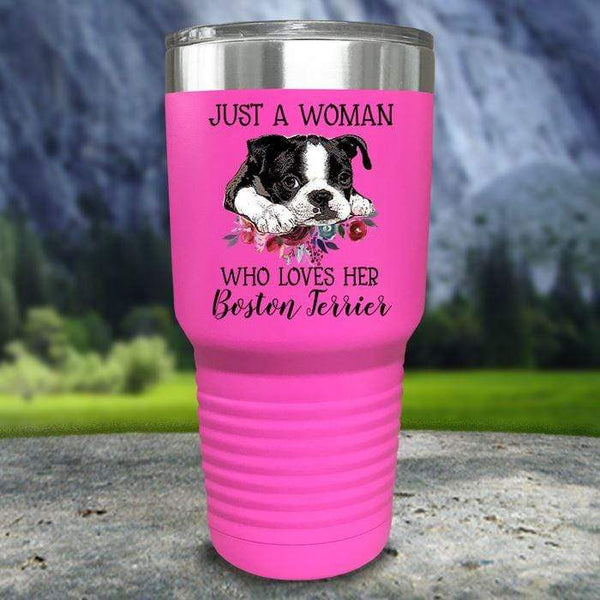 A Woman Who Loves Her Boston Terrier Color Printed Tumblers Tumbler Nocturnal Coatings 30oz Tumbler Pink