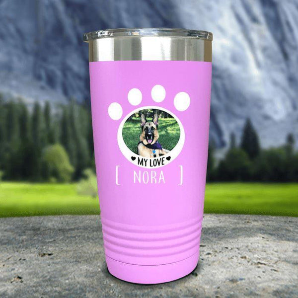 Personalized Pet Photo Color Printed Tumblers Tumbler Nocturnal Coatings 20oz Tumbler Lavender