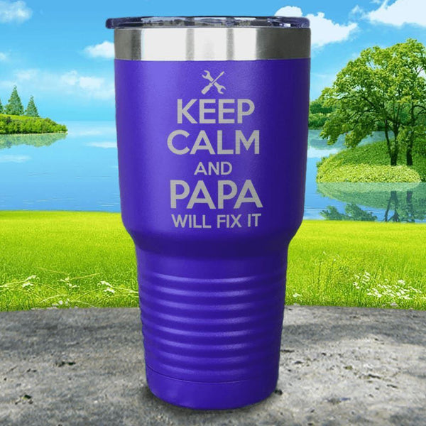 Keep Calm Papa Will Fix It Engraved Tumbler Tumbler ZLAZER 30oz Tumbler Royal Purple