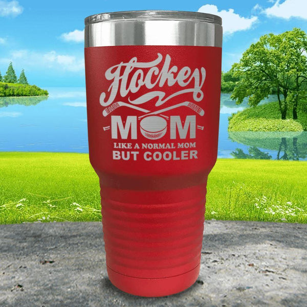 Hockey Mom But Cooler Engraved Tumblers Tumbler ZLAZER 30oz Tumbler Red