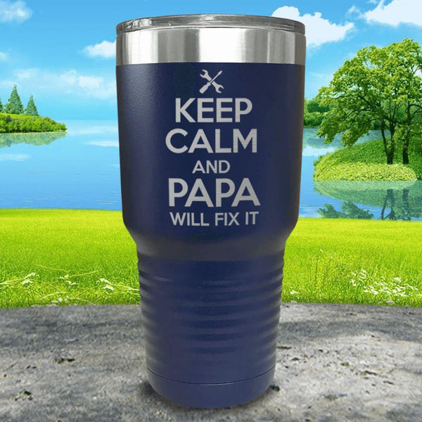 Keep Calm Papa Will Fix It Engraved Tumbler Tumbler ZLAZER 30oz Tumbler Navy