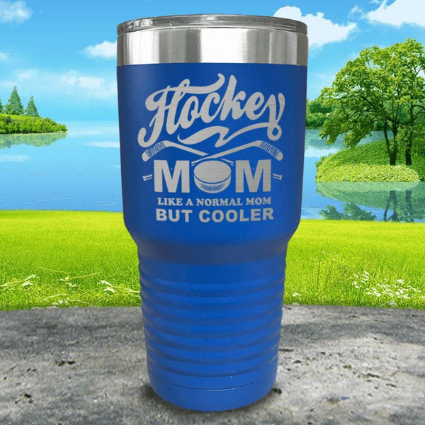 Hockey Mom But Cooler Engraved Tumblers Tumbler ZLAZER 30oz Tumbler Blue