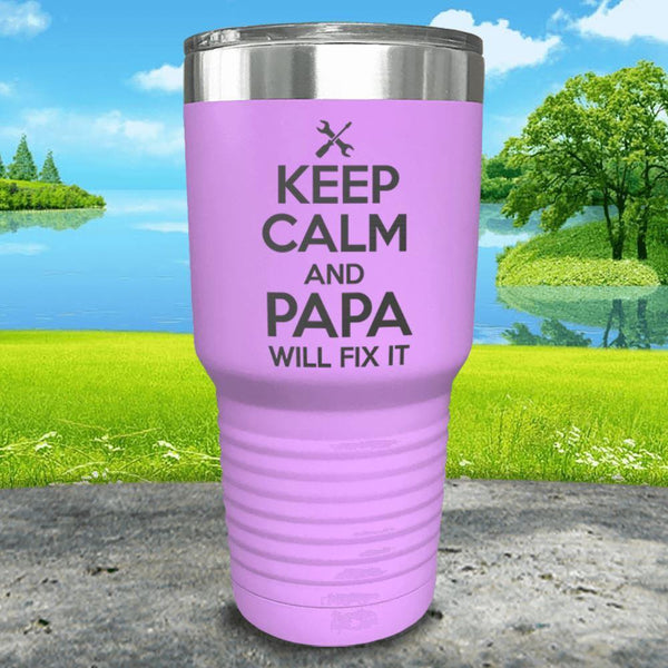 Keep Calm Papa Will Fix It Engraved Tumbler Tumbler ZLAZER 30oz Tumbler Lavender