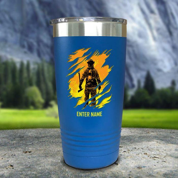 Personalized Into The Inferno Color Printed Tumblers Tumbler Nocturnal Coatings 20oz Tumbler Blue