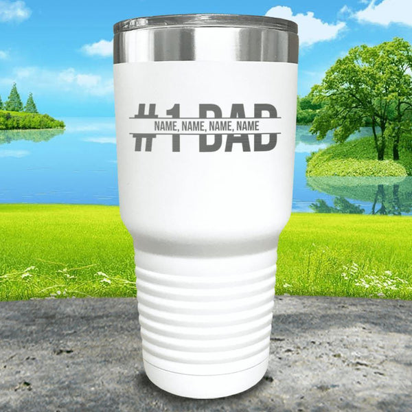 #1 Dad (CUSTOM) With Child's Name Engraved Tumbler Tumbler ZLAZER 30oz Tumbler White