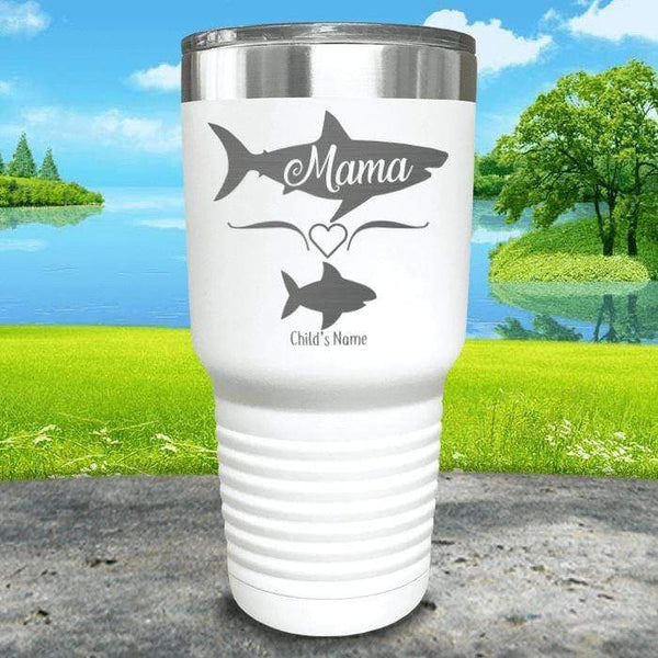 Mama Shark (CUSTOM) With Child's Name Engraved Tumblers Tumbler Southland 30oz Tumbler White