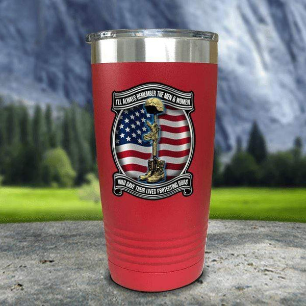 Veteran Always Remember Color Printed Tumblers Tumbler Nocturnal Coatings 20oz Tumbler Red