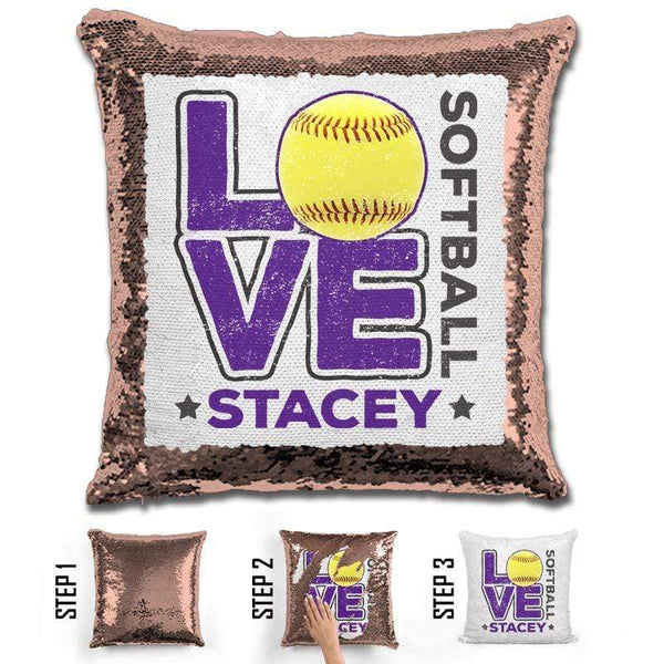 Personalized LOVE Softball Magic Sequin Pillow Pillow GLAM Rose Gold Purple