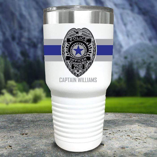 Personalized Police FULL Wrap Color Printed Tumblers Tumbler Nocturnal Coatings 30oz Tumbler White