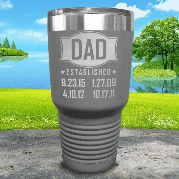 Dad Established CUSTOM Dates Engraved Tumblers Tumbler ZLAZER 30oz Tumbler Grey