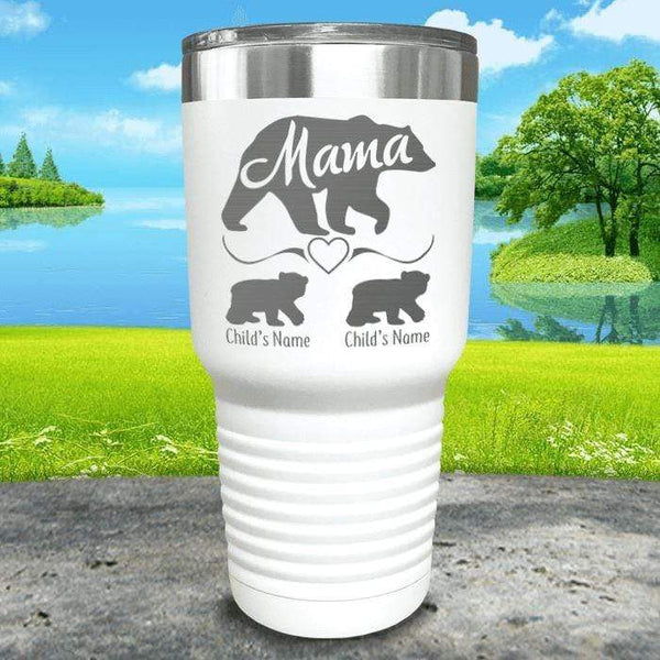 Mama Bear (CUSTOM) With Child's Name Engraved Tumblers Tumbler ZLAZER 30oz Tumbler White
