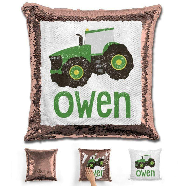 Tractor Personalized Magic Sequin Pillow Pillow GLAM Rose Gold
