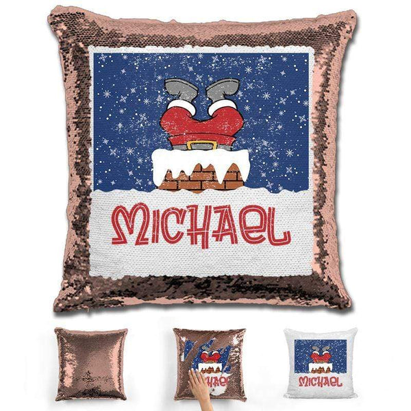 Personalized Santa Stuck In Chimney Christmas Magic Sequin Pillow Pillow GLAM Rose Gold