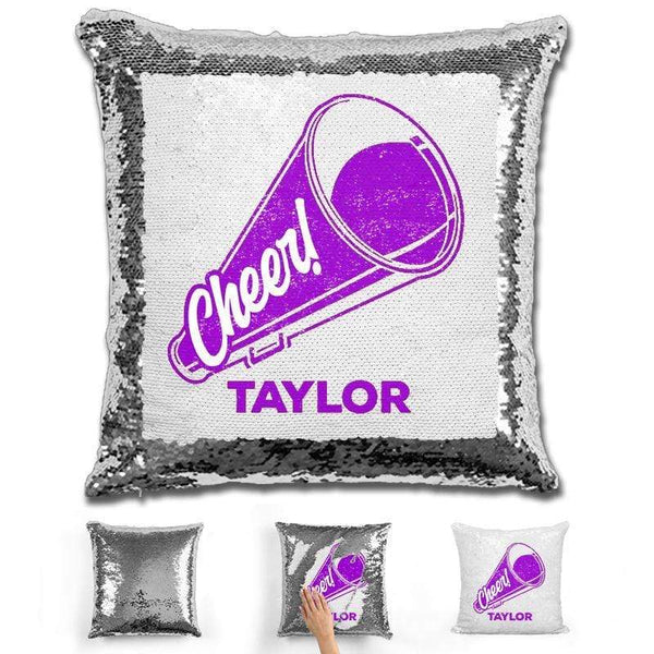 Cheerleader Personalized Magic Sequin Pillow Pillow GLAM Silver Purple