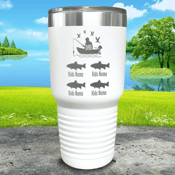 Fishing Dad (CUSTOM) With Child's Name Engraved Tumblers Tumbler ZLAZER 30oz Tumbler White