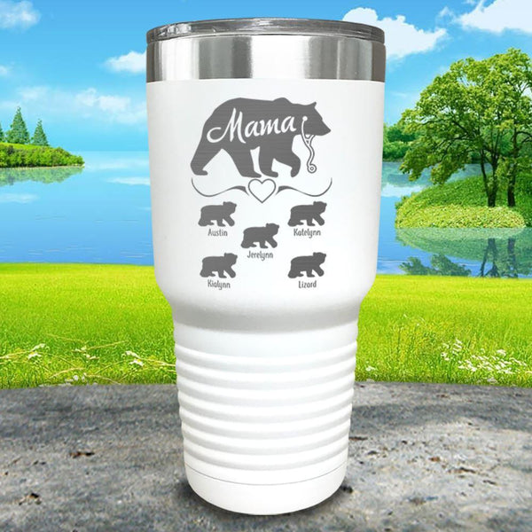 Mama Bear Nurse (CUSTOM) With Child's Name Engraved Tumblers Tumbler ZLAZER 30oz Tumbler White