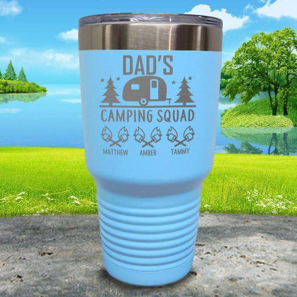 Dad's Camping Squad (CUSTOM) With Child's Name Engraved Tumblers Tumbler ZLAZER 30oz Tumbler Light Blue