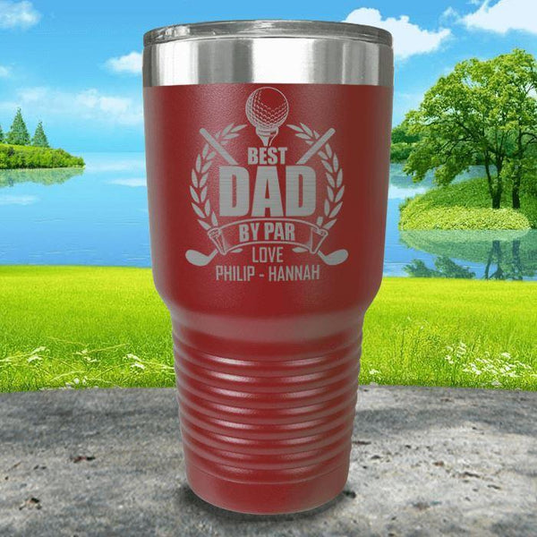 CUSTOM Best Dad By Par Engraved Tumblers Tumbler ZLAZER 30oz Tumbler Maroon