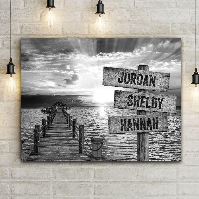 Ocean Sunset with Hallelujah Cloud Sun Rays Canvas Wall Art. Old rustic wood ocean dock with crossroads navigation sign personalized wood planks customized family names or dates