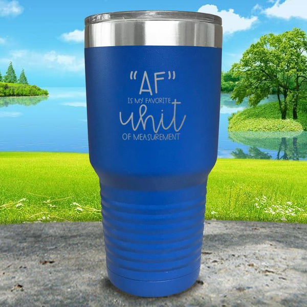 AF is My Favorite Unit Of Measurement Engraved Tumbler Tumbler ZLAZER 30oz Tumbler Lemon Blue