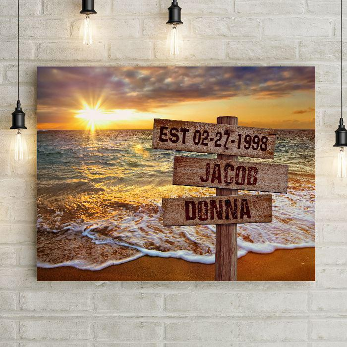 Personalized Beach Sunset Canvas Wall Art with Wooden Custom Name Street Sign
