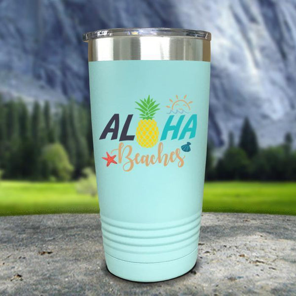 Aloha Beaches Color Printed Tumblers Tumbler Nocturnal Coatings 20oz Tumbler Mint