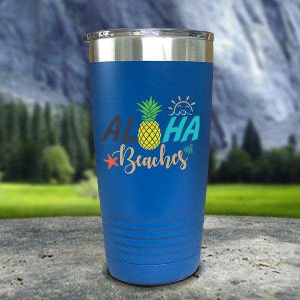 Aloha Beaches Color Printed Tumblers Tumbler Nocturnal Coatings 20oz Tumbler Blue