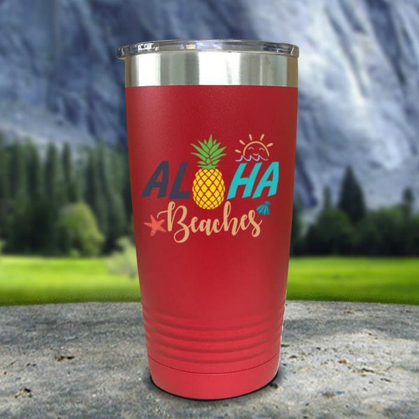Aloha Beaches Color Printed Tumblers Tumbler Nocturnal Coatings 20oz Tumbler Red