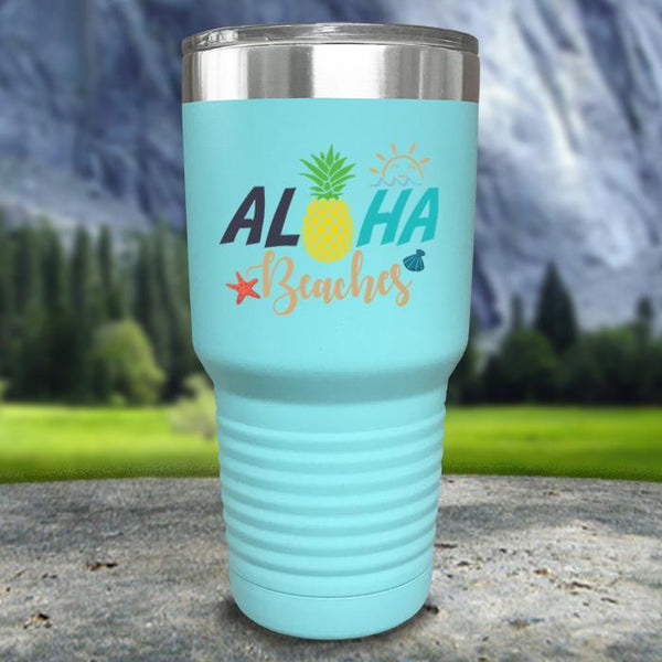 Aloha Beaches Color Printed Tumblers Tumbler Nocturnal Coatings 30oz Tumbler Mint