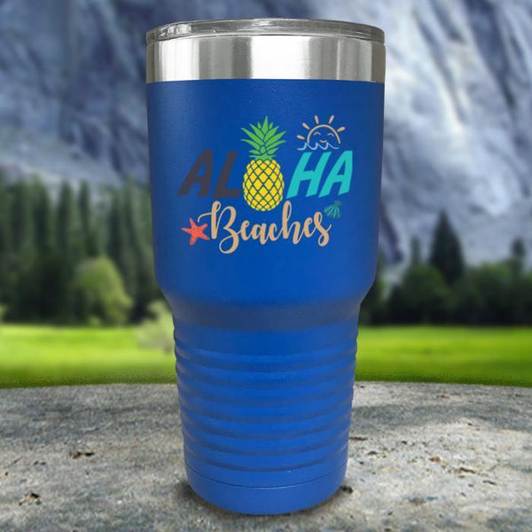 Aloha Beaches Color Printed Tumblers Tumbler Nocturnal Coatings 30oz Tumbler Blue
