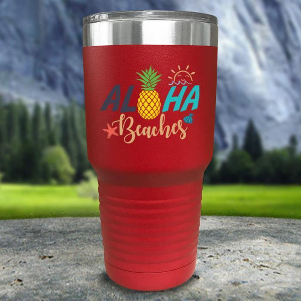Aloha Beaches Color Printed Tumblers Tumbler Nocturnal Coatings 30oz Tumbler Red