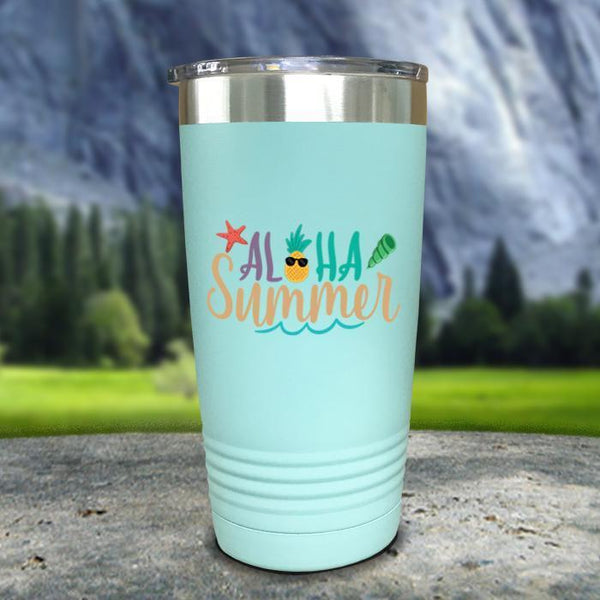 Aloha Summer Color Printed Tumblers Tumbler Nocturnal Coatings 20oz Tumbler Mint