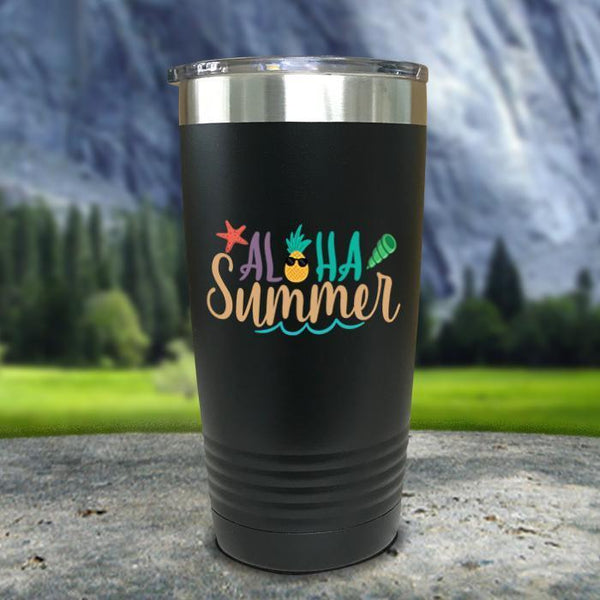 Aloha Summer Color Printed Tumblers Tumbler Nocturnal Coatings 20oz Tumbler Black