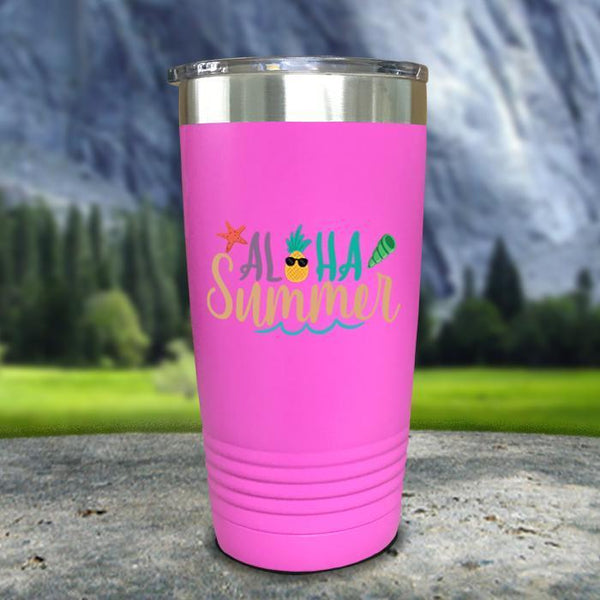 Aloha Summer Color Printed Tumblers Tumbler Nocturnal Coatings 20oz Tumbler Pink