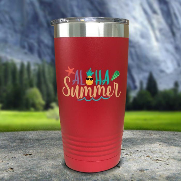 Aloha Summer Color Printed Tumblers Tumbler Nocturnal Coatings 20oz Tumbler Red