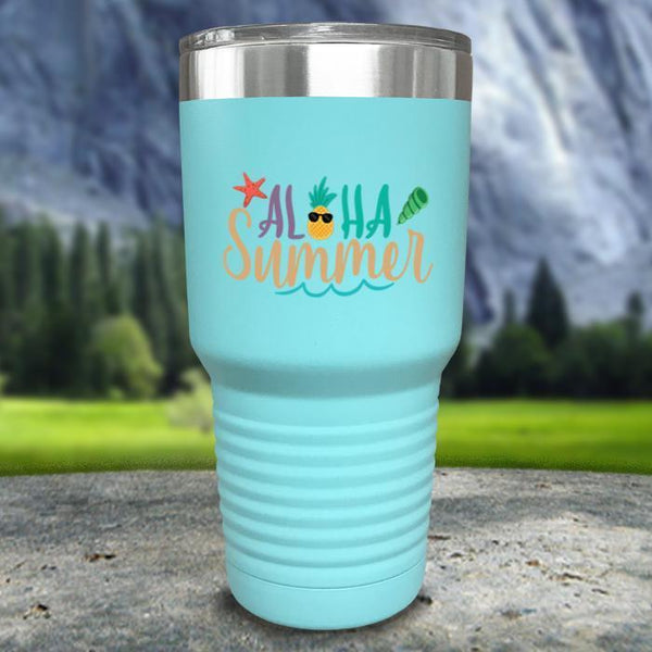 Aloha Summer Color Printed Tumblers Tumbler Nocturnal Coatings 30oz Tumbler Mint
