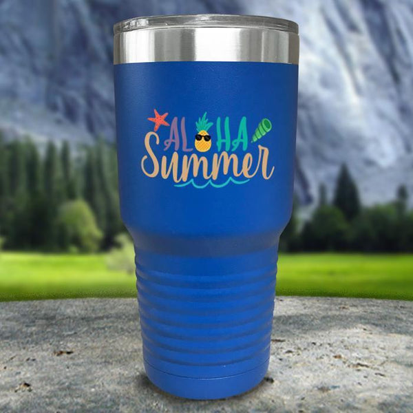 Aloha Summer Color Printed Tumblers Tumbler Nocturnal Coatings 30oz Tumbler Blue