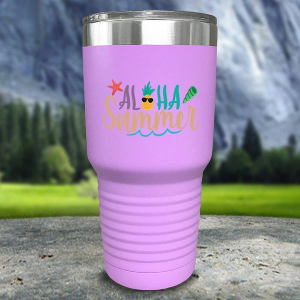 Aloha Summer Color Printed Tumblers Tumbler Nocturnal Coatings 30oz Tumbler Lavender
