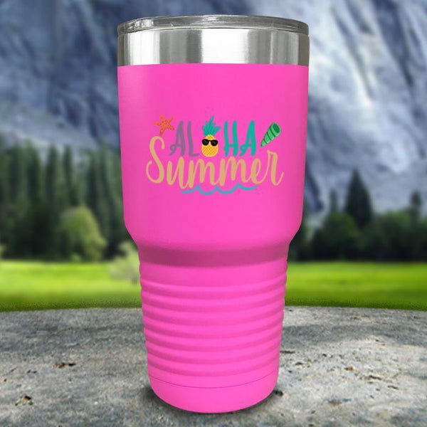 Aloha Summer Color Printed Tumblers Tumbler Nocturnal Coatings 30oz Tumbler Pink