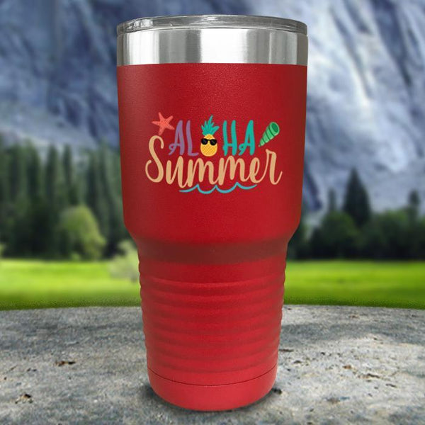 Aloha Summer Color Printed Tumblers Tumbler Nocturnal Coatings 30oz Tumbler Red