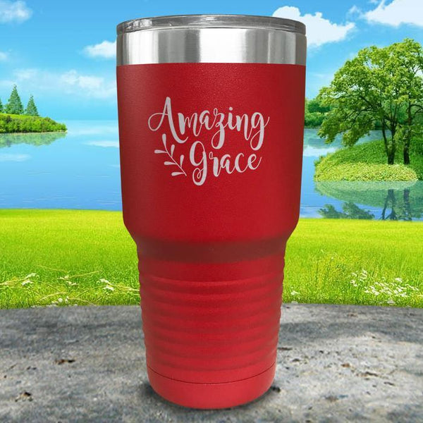 Amazing Grace Engraved Tumbler Tumbler ZLAZER 30oz Tumbler Red