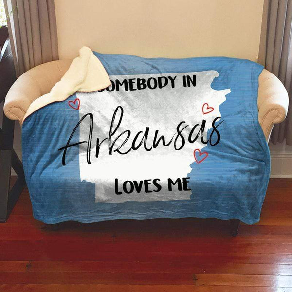 Somebody Loves Me (CUSTOM) Sherpa Blanket Blankets CustomCat Arkansas