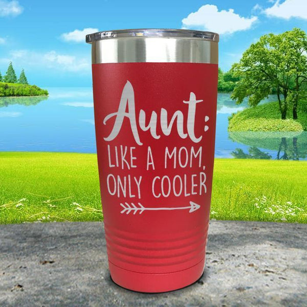 Aunt Like A Mom Only Cooler Engraved Tumbler Tumbler ZLAZER 20oz Tumbler Red