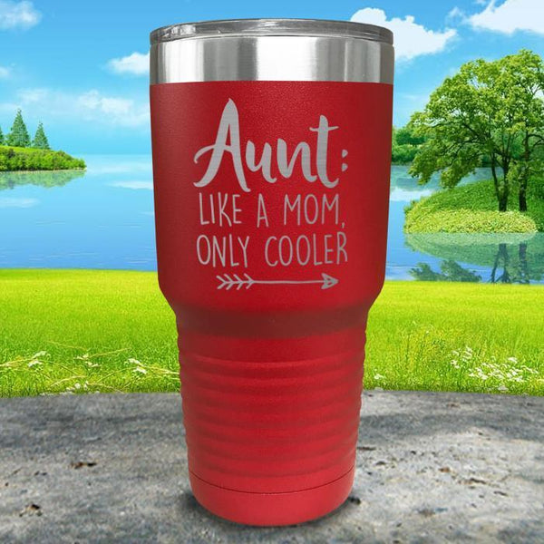 Aunt Like A Mom Only Cooler Engraved Tumbler Tumbler ZLAZER 30oz Tumbler Red