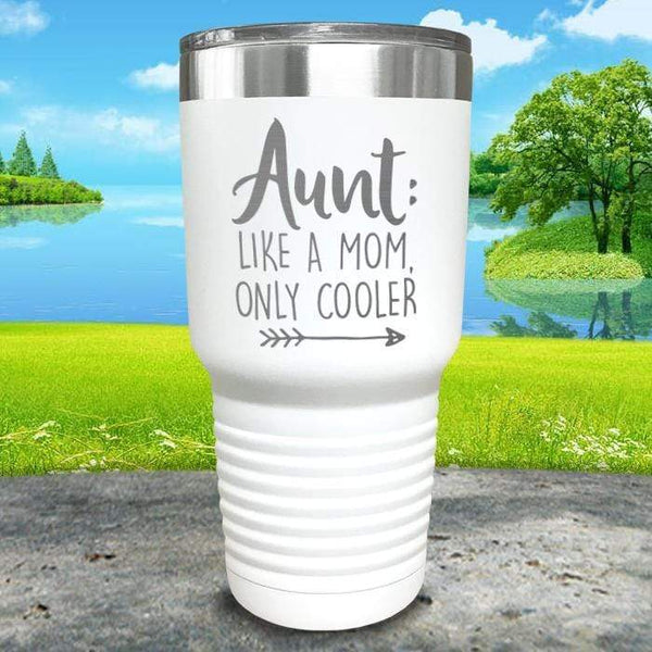 Aunt Like A Mom Only Cooler Engraved Tumbler Tumbler ZLAZER 30oz Tumbler White